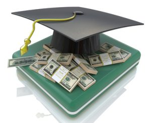graduation cap on US money - education costs in the design of the information related to the education